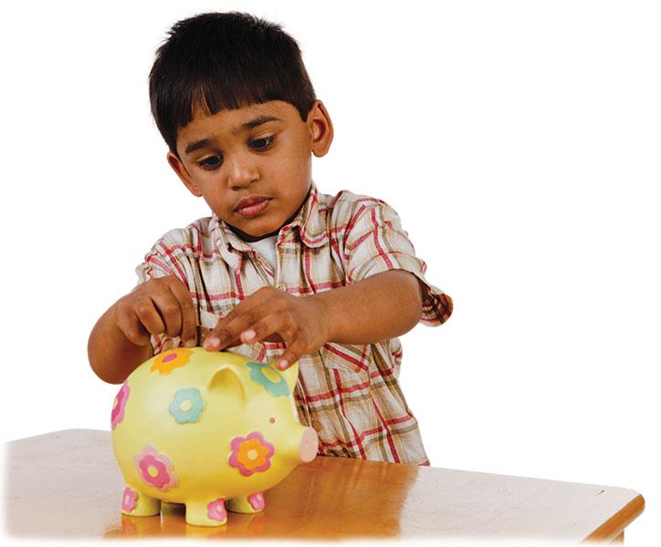 Boy with a piggy bank