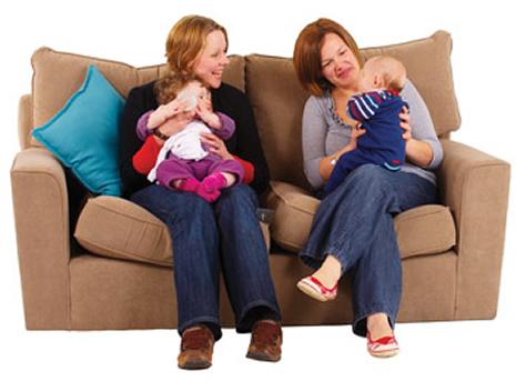 Parent and volunteer with children